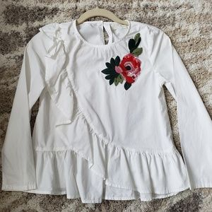 Zara girls ruffled floral embroidered blouse